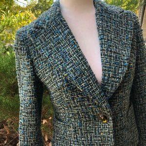 NWOT Kate Hill Green/Blue Tweed Blazer